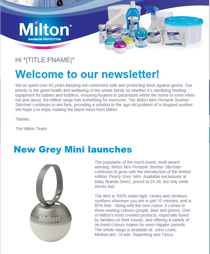 Baby Brands Direct Featured In Milton Newsletter