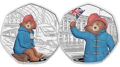 Coloured Paddington Bear on UK 50p Collector Coins