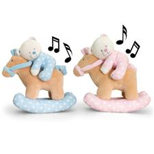 Keel Toys Baby Teddy Bear on Musical Rocking Horse 22cm