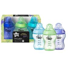 Tommee Tippee Closer to Nature Colour My World Bottle Blue 260ml 3Pk