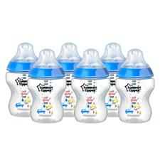Tommee Tippee Closer to Nature Decorated Bottle Blue 260ml 6Pk