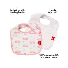 Nursery products wholesaler of Nuby Muslin Snug n Dry Bib 2Pk