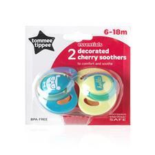 Tommee Tippee Essentials Decorated Cherry Soothers 6-18m 2Pk