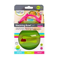 Brother Max Easy Hold Weaning Bowl Pink Green Set