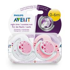 Philips Avent Night-Time Soothers Pink 0-6m 2Pk