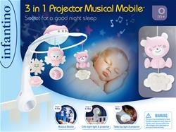 Supplier of Infantino 3 in 1 Projector Musical Mobile Pink