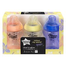 Supplier of Tommee Tippee Closer to Nature Colour My World Bottle Pink 260ml 3Pk