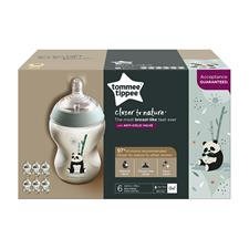 Wholesale of Tommee Tippee Closer to Nature Decorated Bottle Panda 260ml 6Pk