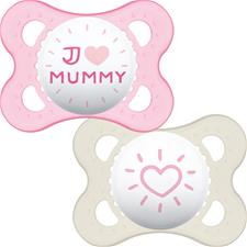 Baby products supplier of MAM Style (I Love) Soother 0m+ 2Pk