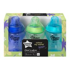 Baby products supplier of Tommee Tippee Closer to Nature Colour My World Bottle Blue 260ml 3Pk
