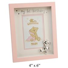 Button Corner MDF Photo Frame My 1st Birthday Pink 4