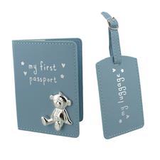 Button Corner PU My First Passport & Luggage Tag - Blue