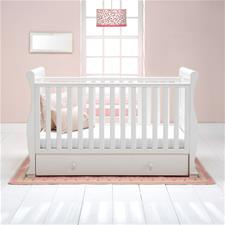 East Coast Alaska Sleigh Cot Bed With Drawer White