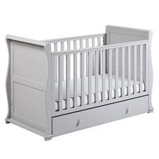 East Coast Nursery Alaska Sleigh Cot Bed with Draw Grey