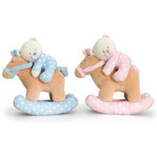 Keel Toys Baby Teddy Bear on Musical Rocking Horse 22cm