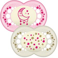 MAM Original Night Soother Pink 12m+ 2Pk