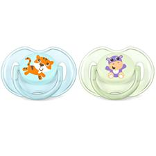 Philips Avent Classic Soothers Tiger & Hippo 0-6m 2Pk