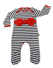 Rockabye Baby Red Bow Stripe Envelope Neck Sleepsuit 0-3m