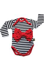 Rockabye Baby Red Bow Stripe Long Sleeve Bodysuit 0-3m