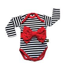 Rockabye Baby Red Bow Stripe Long Sleeve Bodysuit 6-12m