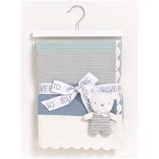 Silvercloud Made With Love Blanket & Baby Bear Gift Set Blue