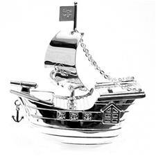 Silverplated Money Box Pirate Ship