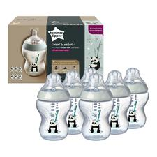 Tommee Tippee Closer to Nature Decorated Bottle Panda 260ml 6Pk