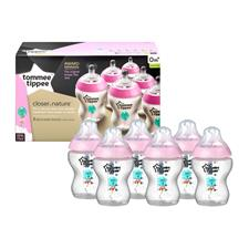 Tommee Tippee Closer to Nature Decorated Bottle Pink 260ml 6Pk