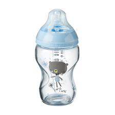 Tommee Tippee Glass Bottle Blue Decorated 250ml