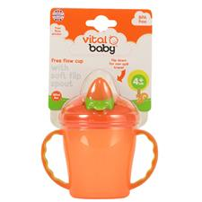 Vital Baby Free Flow Cup with Soft Flip Spout Orange