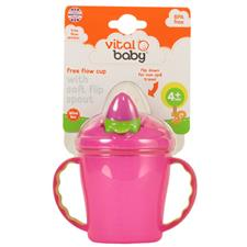 Vital Baby Free Flow Cup with Soft Flip Spout Pink