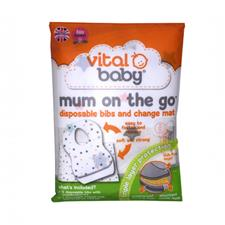 Vital Baby Mum On The Go Disposable Bibs (x3) & Change Mat Wallet