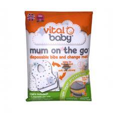 Vital Baby Mum On The Go Disposable Bibs (x3) & Change Mat Wallet