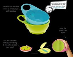 Brother Max 2 Pink Green Easy Hold Bowls