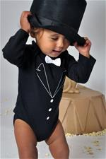 Rockabye Baby Tuxedo Long Sleeve Black Bodysuit - 6-12mths