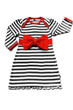 Rockabye Baby Envelope Neck Red Bow Dress Black and Red - 0-3mths