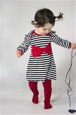 Rockabye Baby Envelope Neck Red Bow Dress Black and Red - 3-6mths