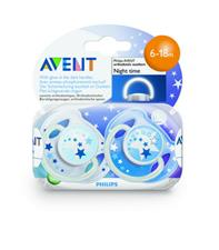 Philips Avent Twin Pack Silicone Soother Night - 6-18 months