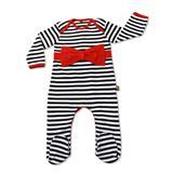 Rockabye Baby Red Bow Stripe Envelope Neck Sleepsuit - 3-6mths