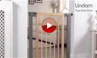 Lindam Sure Shut Deco - Natural Wood & Silver Metal
