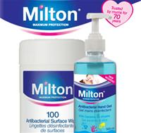 New Larger Sizes - Milton Hand Gel & Wipes